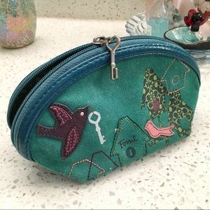 Green Fossil Clutch Makeup Bag with birds